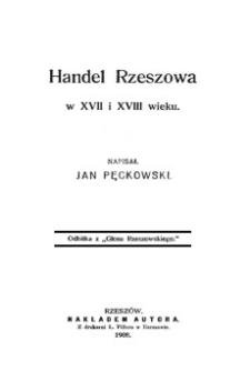 Handel Rzeszowa w XVII i XVIII wieku