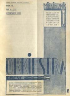 Orkiestra : miesięcznik poświęcony krzewieniu kultury muzycznej wśród orkiestr i towarzystw muzycznych w Polsce. 1932, R. 3, nr 6 (czerwiec)