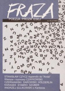 Fraza : poezja, proza, esej. 1997, R. 7, nr 15