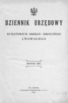Dziennik Urzędowy Kuratorjum Okręgu Szkolnego Lwowskiego. 1928, R. 32, nr 1-13