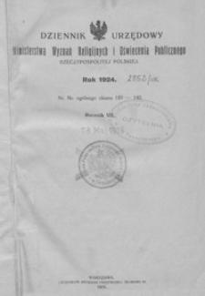Dziennik Urzędowy Ministerstwa Wyznań Religijnych i Oświecenia Publicznego Rzeczypospolitej Polskiej. 1924, R. 7, nr 1-20
