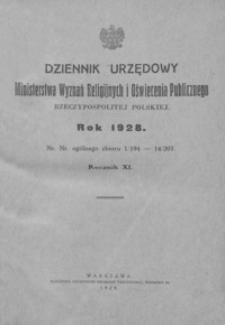 Dziennik Urzędowy Ministerstwa Wyznań Religijnych i Oświecenia Publicznego Rzeczypospolitej Polskiej. 1928, R. 11, nr 1-14