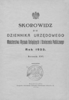 Dziennik Urzędowy Ministerstwa Wyznań Religijnych i Oświecenia Publicznego. 1933, R. 16, nr 1-16