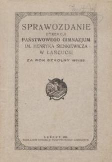 Sprawozdanie Dyrekcji Państwowego Gimnazjum im. Henryka Sienkiewicza w Łańcucie za rok szkolny 1931/32