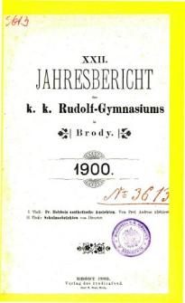 Jahresbericht K. K. Rudolfs-Gymnasium in Brody fur das schuljahr 1900
