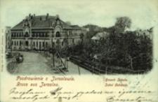 Pozdrowienie z Jarosławia. Gmach Sokoła = Gruss aus Jaroslau. Sokol Gebaude [Widokówka z obiegu]