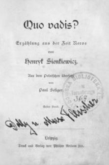 Quo vadis? : Erzahlung aus der Zeit Neros. Bd. 1