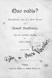 Quo vadis? : Erzahlung aus der Zeit Neros. Bd. 2