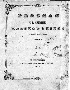 Program C. K. Gimnazjum Rzeszowskiego z roku szkolnego 1851