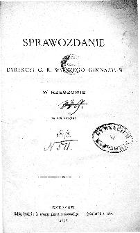 Sprawozdanie Dyrekcyi C. K. Gimnazyum w Rzeszowie za rok 1878