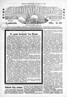 Tygodnik Polski : jedyne czasopismo polskie w Azji. 1932, R. 11, nr 541-545 (październik)