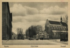 Żołynia : szkoła, kościół [Widokówka czysta]