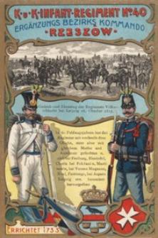K·U·K·Infant·Regiment Nº 40 Ergänzungs Bezirks Kommando · Rzeszów · [Pocztówka]