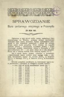 Sprawozdanie Biura sanitarnego miejskiego w Przemyślu za rok 1911