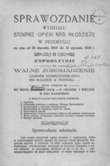 Sprawozdanie Wydziału Stowarz[yszenia] Opieki nad Młodzieżą w Przemyślu za czas od 25 stycznia 1918 do 31 stycznia 1919 r.
