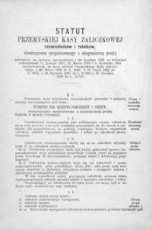 Statut Przemyskiej Kasy Zaliczkowej rzemieślników i rolników : stowarzyszenia zarejestrowanego z nieograniczoną poręką