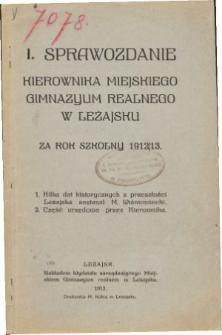 Sprawozdanie Kierownika Miejskiego Gimnazyum w Leżajsku za rok szkolny 1912/13