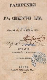 Pamiętniki Jana Chryzostoma Paska, odnoszące się od lat 1656 do 1688