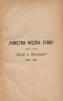Rzeź w Horożanie i Pamiętnik więźnia stanu : dwa dzieła w jednym tomie