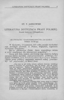 Literatura dotycząca prasy polskiej : notatki krytyczno-bibliograficzne