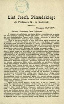 List Józefa Piłsudskiego do Profesora N… w Krakowie