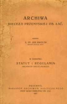 Archiwa diecezji przemyskiej ob. łać.