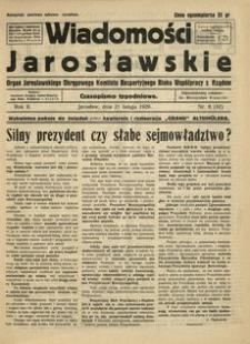 Wiadomości Jarosławskie : organ Jarosławskiego Okręgowego Komitetu Bezpartyjnego Bloku Współpracy z Rządem. 1929, R. 2, nr 8 (luty)
