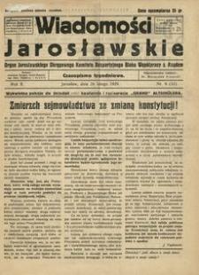 Wiadomości Jarosławskie : organ Jarosławskiego Okręgowego Komitetu Bezpartyjnego Bloku Współpracy z Rządem. 1929, R. 2, nr 9 (luty)