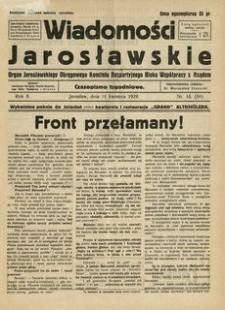 Wiadomości Jarosławskie : organ Jarosławskiego Okręgowego Komitetu Bezpartyjnego Bloku Współpracy z Rządem. 1929, R. 2, nr 15 (kwiecień)
