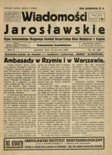 Wiadomości Jarosławskie : organ Jarosławskiego Okręgowego Komitetu Bezpartyjnego Bloku Współpracy z Rządem. 1929, R. 2, nr 24 (czerwiec)