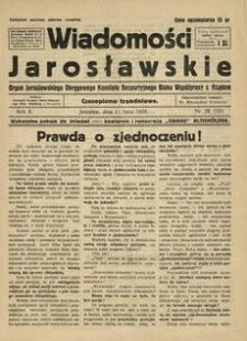 Wiadomości Jarosławskie : organ Jarosławskiego Okręgowego Komitetu Bezpartyjnego Bloku Współpracy z Rządem. 1929, R. 2, nr 28 (lipiec)