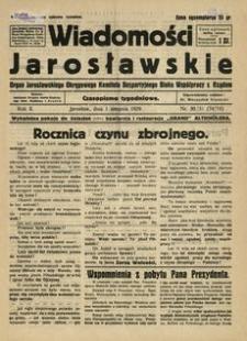 Wiadomości Jarosławskie : organ Jarosławskiego Okręgowego Komitetu Bezpartyjnego Bloku Współpracy z Rządem. 1929, R. 2, nr 30/31 (sierpień)