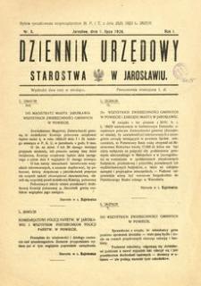 Dziennik Urzędowy Starostwa w Jarosławiu. 1926, R. 1, nr 5 (lipiec)