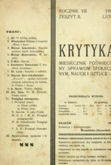 Krytyka : miesięcznik poświęcony sprawom społecznym, nauce i sztuce. 1905, R. 7, z. 2