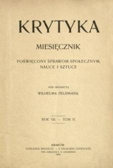 Krytyka : miesięcznik poświęcony sprawom społecznym, nauce i sztuce. 1905, R. 7, t. 2