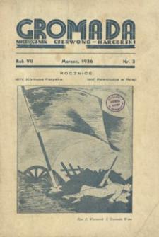 Gromada : miesięcznik czerwono - harcerski. 1936, R. 7, nr 3 (marzec)