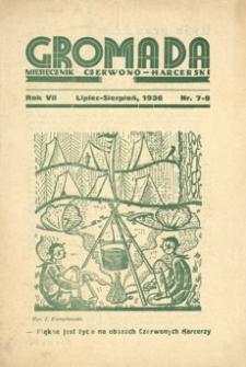 Gromada : miesięcznik czerwono - harcerski. 1936, R. 7, nr 7-8 (lipiec-sierpień)