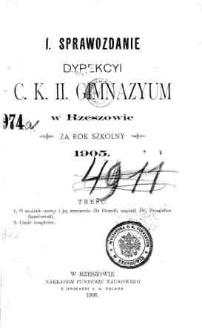 Sprawozdanie Dyrekcyi C. K. II Gimnazyum w Rzeszowie za rok szkolny 1905