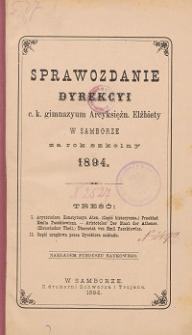 Sprawozdanie Dyrekcji C. K. Gimnazyum Arcyksiężniczki Elżbiety w Samborze za rok szkolny 1894
