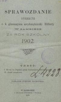 Sprawozdanie Dyrekcji C. K. Gimnazyum Arcyksiężniczki Elżbiety w Samborze za rok szkolny 1902