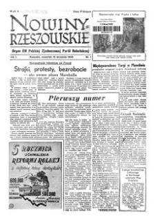 Nowiny Rzeszowskie : organ KW Polskiej Zjednoczonej Partii Robotniczej. 1949, R. 1, nr 1 (15 września)