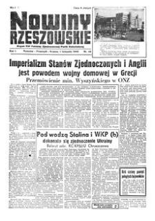 Nowiny Rzeszowskie : organ KW Polskiej Zjednoczonej Partii Robotniczej. 1949, R. 1, nr 48 (1 listopada)