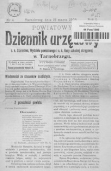 Powiatowy Dziennik Urzędowy c. k. Starostwa, Wydziału powiatowego i c. k. Rady szkolnej okręgowej w Tarnobrzegu. 1908, R. 1, nr 4