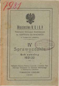 Sprawozdanie Państwowego Gimnazjum Koedukacyjnego im. Bartosza Głowackiego w Tomaszowie Lubelskim za rok szkolny 1921/22