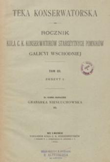 Teka Konserwatorska : rocznik Koła c. k. Konserwatorów Starożytnych Pomników Galicyi Wschodniej. T. 3, z. 1 (1904), z. 2 (1909), z. 4 (1912)
