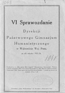 Sprawozdanie Dyrekcji Państwowego Gimnazjum Humanistycznego w Wąbrzeźnie za rok szkolny 1925/26