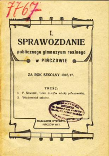 Sprawozdanie Publicznego Gimnazyum Realnego w Pińczowie za rok szkolny 1916/17