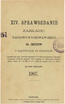 Sprawozdanie Zakładu Naukowo-Wychowawczego OO. Jezuitów w Bąkowicach pod Chyrowem za rok szkolny 1907