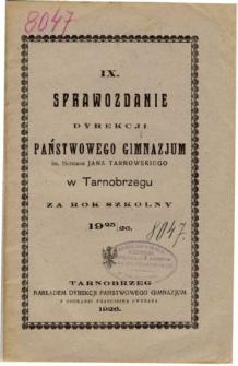 Sprawozdanie Dyrekcji Państwowego Gimnazjum im. Hetmana Jana Tarnowskiego w Tarnobrzegu za rok szkolny 1925/26