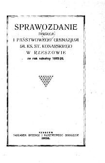 Sprawozdanie Dyrekcji I. Państwowego Gimnazjum im. ks. St. Konarskiego w Rzeszowie za rok szkolny 1925/26